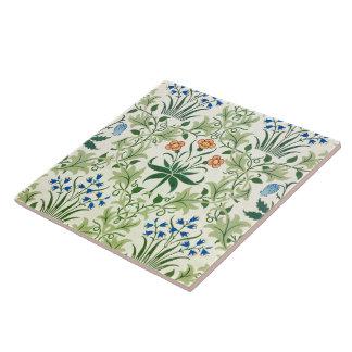 Estampado de flores William Morris del vintage Azulejo Cuadrado Grande