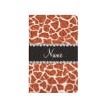 Estampado de girafa anaranjado conocido de encargo cuadernos grapados