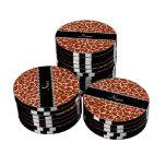 Estampado de girafa anaranjado conocido de encargo juego de fichas de póquer