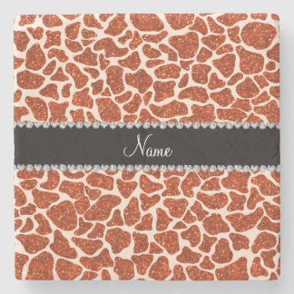 Estampado de girafa anaranjado conocido de encargo posavasos de piedra