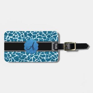 Estampado de girafa azul del brillo del monograma etiqueta de equipaje