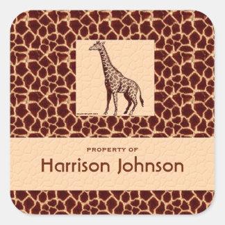 Estampado de girafa con clase con el texto de la pegatina cuadrada