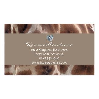 estampado de girafa con el diamante en forma de tarjetas de visita