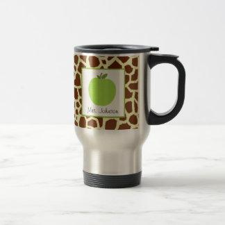 Estampado de girafa de Apple del verde de la taza