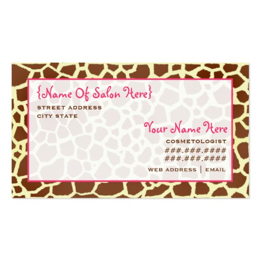 Estampado de girafa de la cita del salón del Cosme Plantillas De Tarjetas De Visita