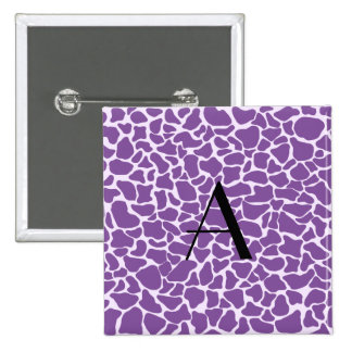 Estampado de girafa de la púrpura del monograma pin
