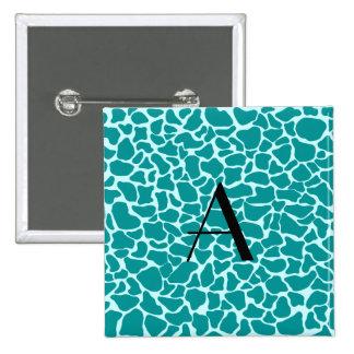 Estampado de girafa de la turquesa del monograma pin