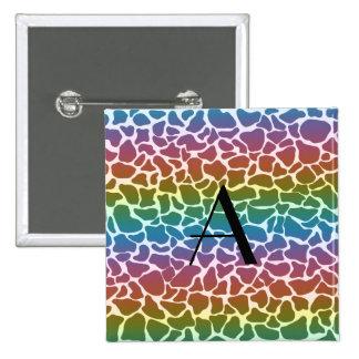 Estampado de girafa del arco iris del monograma