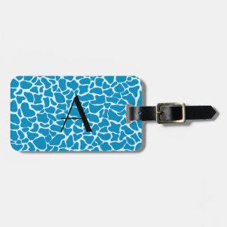Estampado de girafa del azul del monograma etiqueta para equipaje