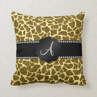 Estampado de girafa del brillo del monograma almohadas