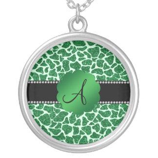 Estampado de girafa del brillo del verde del monog joyerias personalizadas