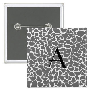 Estampado de girafa del gris del monograma pin