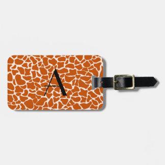 Estampado de girafa del naranja del monograma etiquetas de equipaje