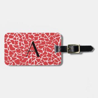 Estampado de girafa del rojo del monograma etiqueta de equipaje