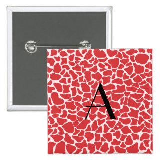 Estampado de girafa del rojo del monograma pin