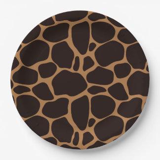 Estampado de girafa del tema del safari platos de papel