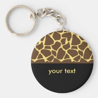 Estampado de girafa fresco llavero redondo tipo pin