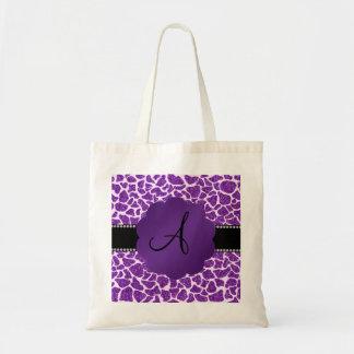 Estampado de girafa púrpura del brillo del monogra bolsa de mano