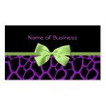 Estampado de girafa púrpura femenino con la cinta plantillas de tarjetas personales