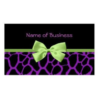 Estampado de girafa púrpura femenino con la cinta tarjetas de visita