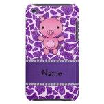 Estampado de girafa púrpura personalizado del bril iPod Case-Mate cobertura