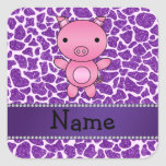 Estampado de girafa púrpura personalizado del bril pegatina cuadradas personalizadas