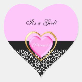 Estampado de girafa rosado femenino de la princesa colcomanias de corazon