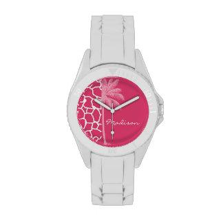 Estampado de girafa rosado oscuro; Palma del veran Reloj