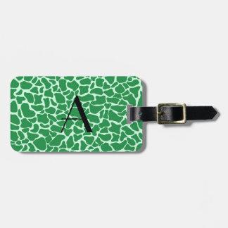 Estampado de girafa verde del monograma etiquetas bolsas