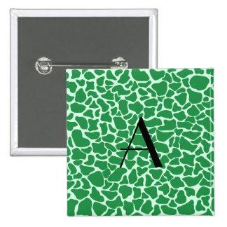 Estampado de girafa verde del monograma pins