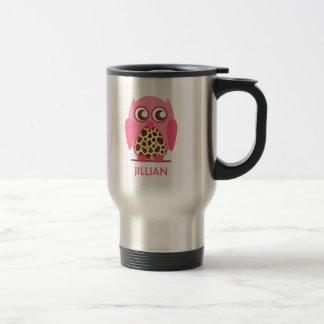 Estampado de girafa y taza personalizada búho rosa