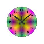 Estampado de plores abstracto multicolor reloj de pared