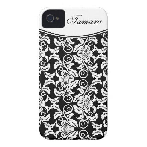 Estampado de plores adornado con nombre iPhone 4 Case-Mate carcasas