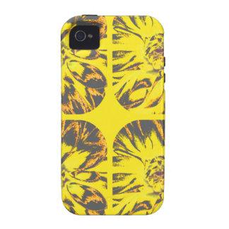 Estampado de plores amarillo de la dalia del iPhone 4 carcasas