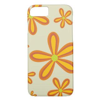 estampado de plores anaranjado retro 70ies funda iPhone 7