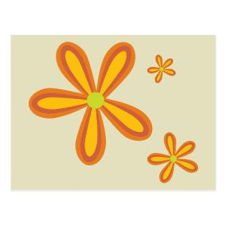 estampado de plores anaranjado retro 70ies postal
