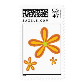 estampado de plores anaranjado retro 70ies sello postal