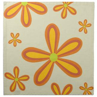 estampado de plores anaranjado retro 70ies servilletas de papel