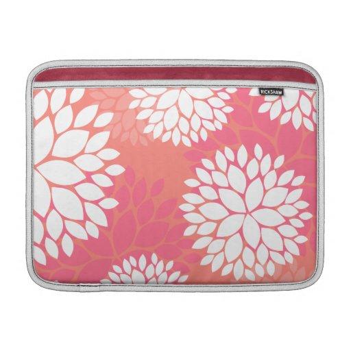 Estampado de plores anaranjado rosado fundas MacBook