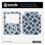 Estampado de plores azul abstracto iPod nano skin