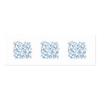 Estampado de plores azul bonito en blanco. tarjetas de visita mini