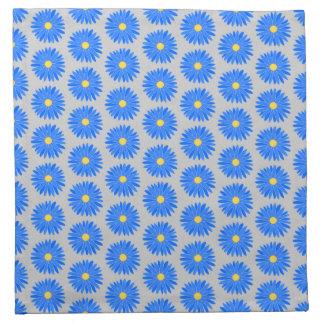 Estampado de plores azul en gris servilletas
