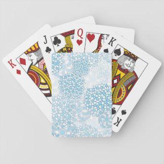 Estampado de plores azul y blanco baraja de cartas