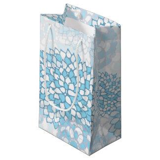Estampado de plores azul y blanco bolsa de regalo pequeña
