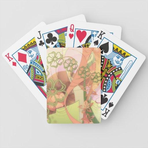 Estampado de plores barajas de cartas