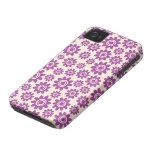 Estampado de plores caprichoso púrpura y poner cre iPhone 4 Case-Mate coberturas