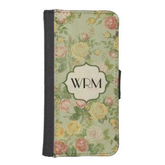Estampado de plores con monograma floral del vinta cartera para iPhone 5