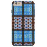 Estampado de plores de Brown azul Funda Para iPhone 6 Plus Tough