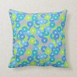 Estampado de plores del art déco - azul y verde almohada