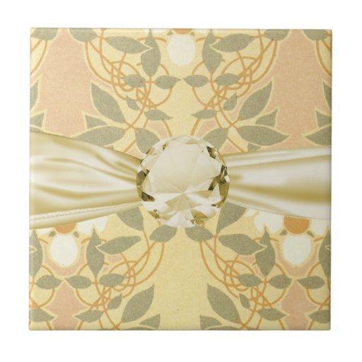 estampado de plores del art déco del vintage azulejo cuadrado pequeño